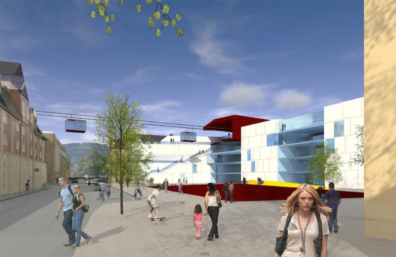 Visualisering av Campus Kalvskinnet, hvitt bygg, med Gondolene til IQ-banen på vei inn. Åpent område med folk foran bygningen.