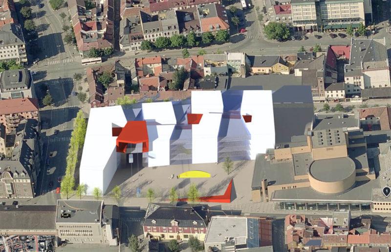 Fugleperspektiv av Campus Kalvskinnet og hvordan den ligger plassert i forhold til andre bygg i nærheten.