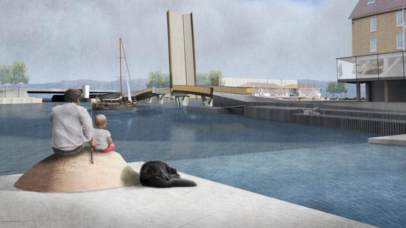 Arkitektvisualisering av bro mellom Ravnkloa og Fosenkaia, mann og gutt som fisker, svart hund som ligger ved siden av de.