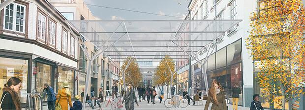 Arkitekttegning av glassoverbygg i Thomas Angellsgate. Folkeliv.