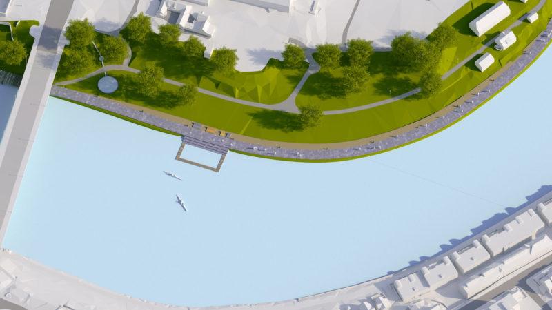 3D visualisering av Trondheim i hvitt, Hjertepromenaden visualisert med farger. To kajakkpadlere i vannet foran tidevannsbassenget