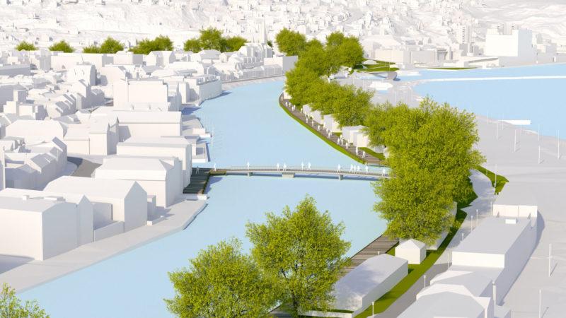 3D-visualisering av bro over elven mellom Ravnkloa og Fosenkaia. Sett fra sentralstasjonen.