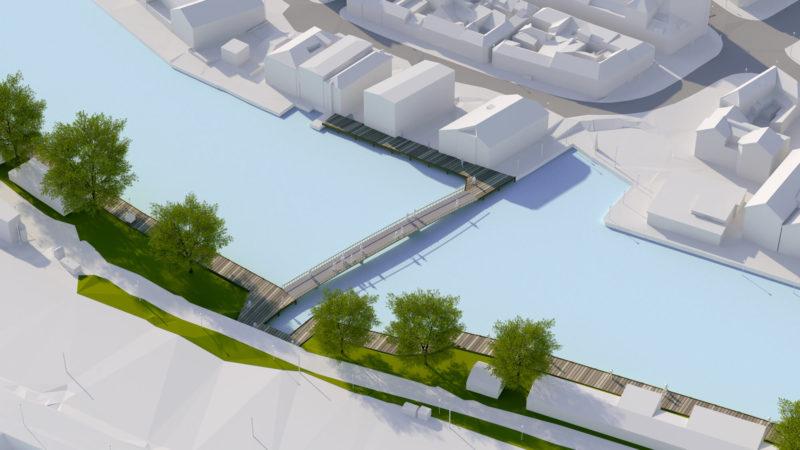 3D visualisering av bro over elven mellom Ravnkloa og Fosenkaia i fugleperspektiv