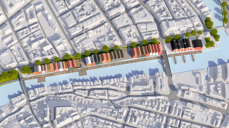 3D visualisering av Bryggene langs Kjøpmannsgt. Bryggene i skarpe farger.