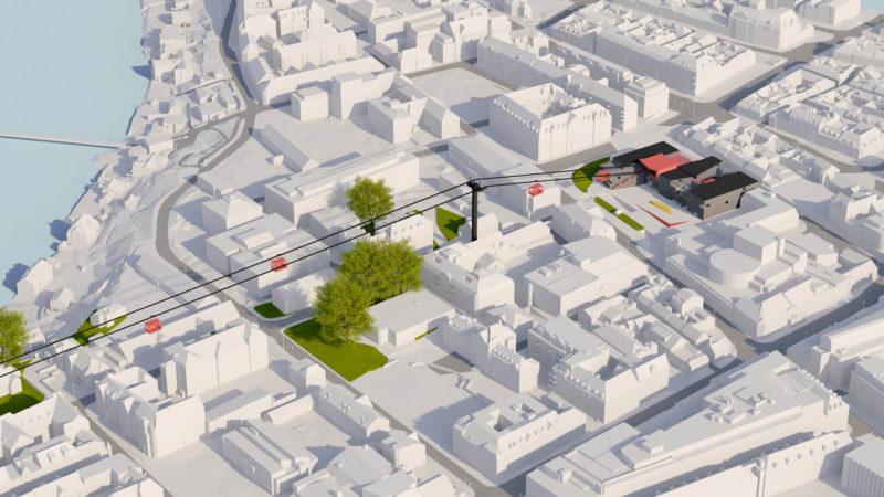 3D Visualisering av Trondheim i hvitt med IQ-banen, stasjon Kalvskinnet, markert i farger.