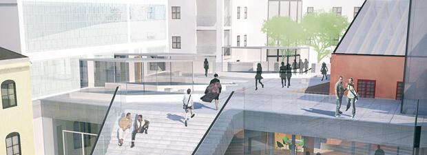 3D Visualisering av Trondheim i hvitt med IQ-banen markert i farger.