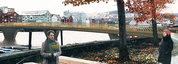 Arkitektvisualisering av Olavskilden og Vannspeilet på Marinen. Barn leker i vannet.