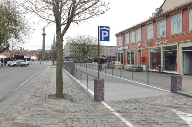 Visualisering av nedkjøring til parkeringskjeller i Munkegata utenfor Burgerking