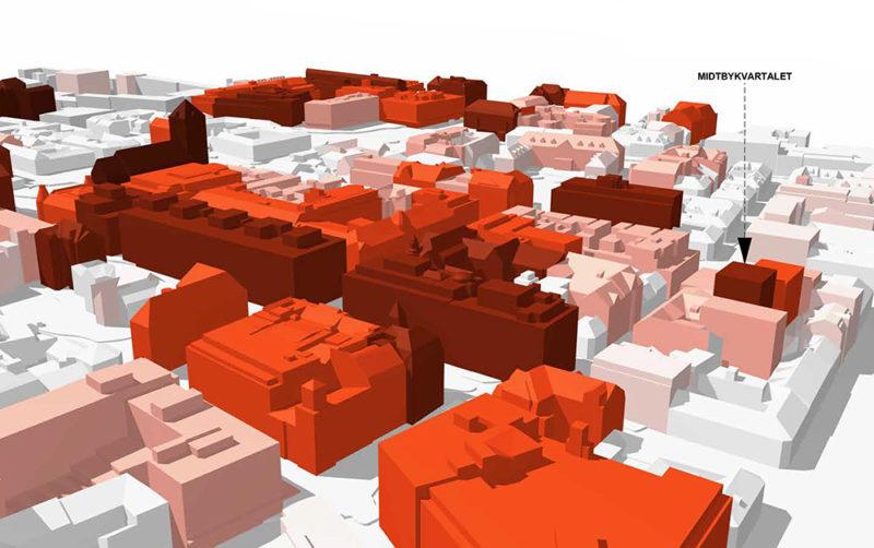 Høydeprofil av byggene i Midtbyen. Jo mørkere rødfarge, jo høyere bygg. Midbykvartalet til høyre i bildet.